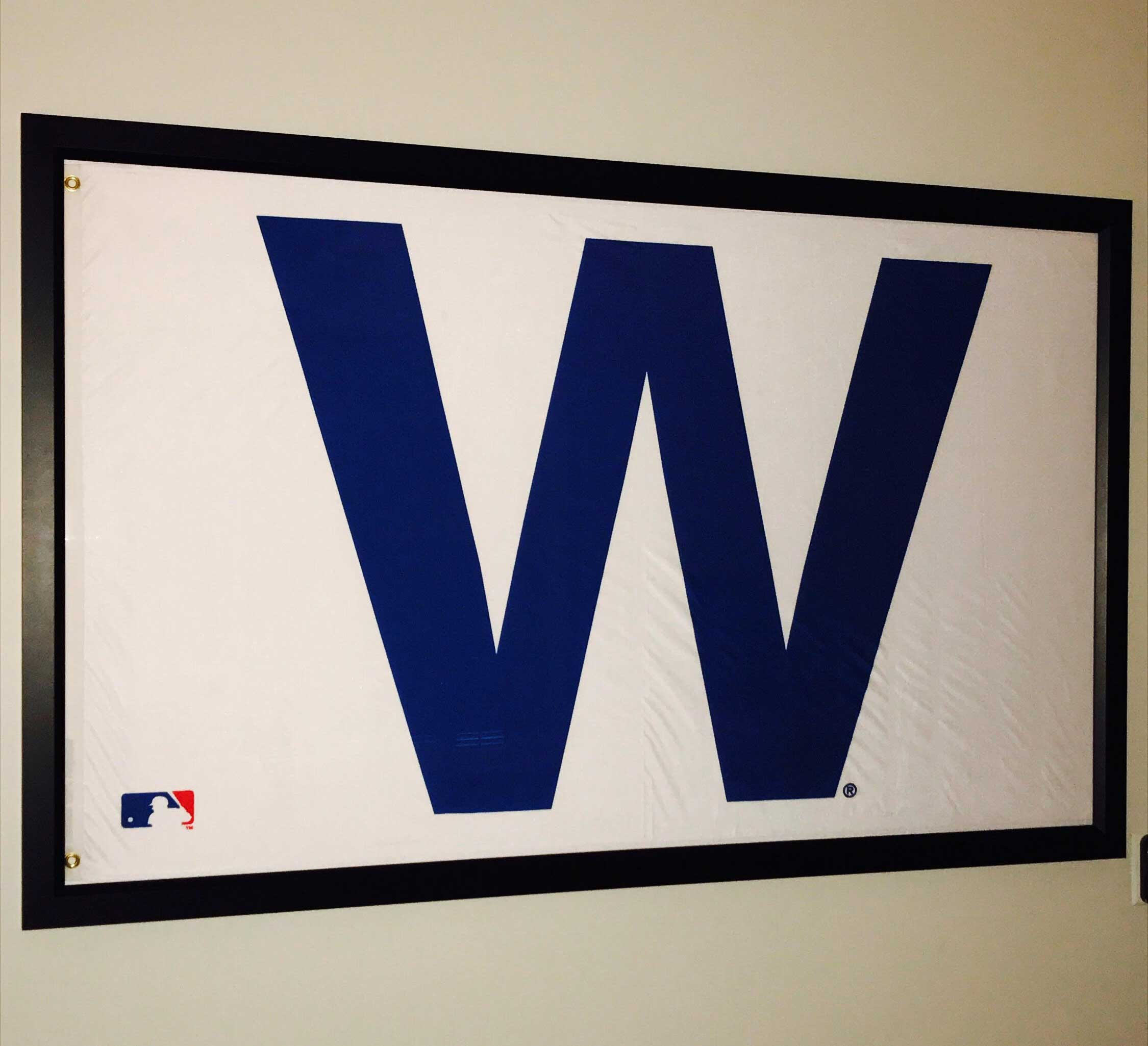 "Awesome 3 foot by 5 foot Cubs Win ""W"" flag frame – GolfFlagFrames"